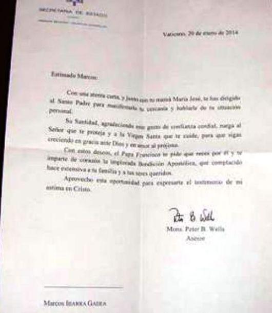 El Papa respondió a una carta de un chico mercedeño