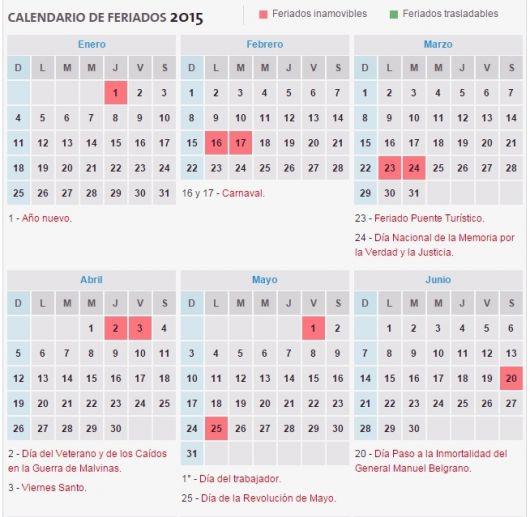 Calendario de feriados 2015 de la Argentina
