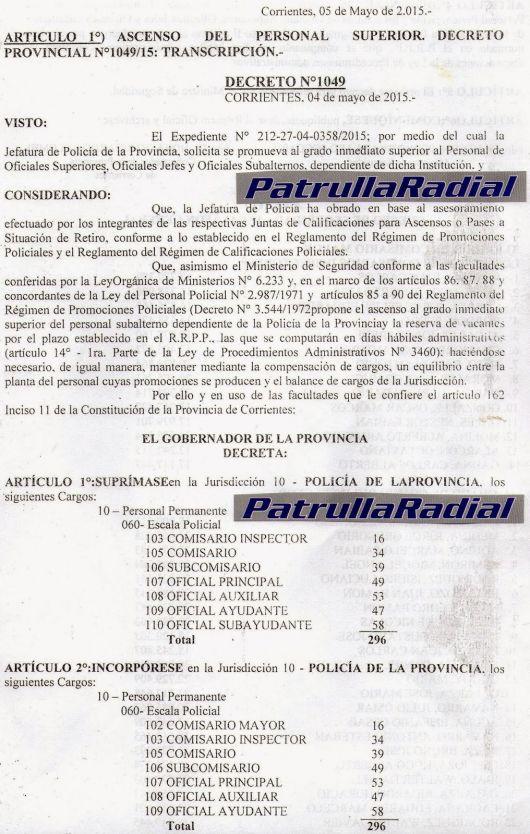 Salieron los ascensos de la Policía de Corrientes