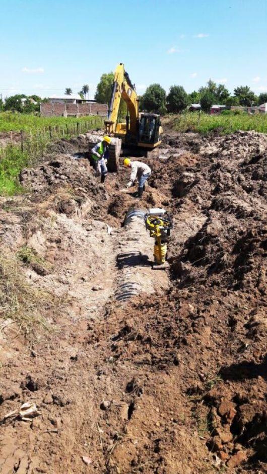 Avanzan las obras de desagües en la zona sur