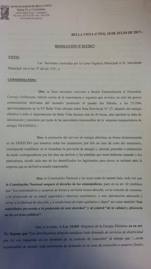 Bella Vista pide Informes a TRANSNEA y DPEC