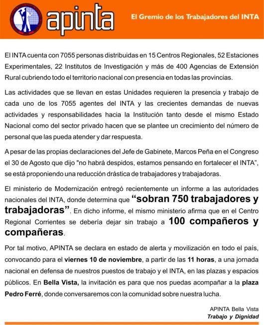 Preocupación en APINTA y el INTA, ante posibles despidos