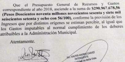 El presupuesto municipal 2018 asciende a $ 290.967.678,56.
