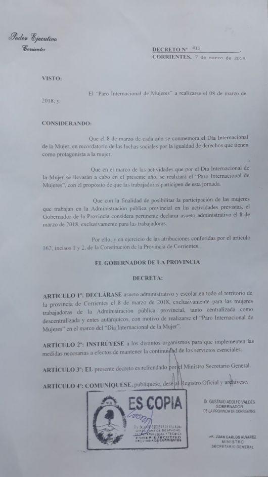 Para mujeres: Valdés decretó asueto administrativo y escolar