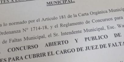 Concurso Público de Oposición y Antecedentes para cubrir el cargo de Juez de Faltas Municipal